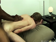 Cute blonde twink gets his irritant stretched away from a big sombre load of shit