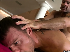 Blistering pop bear fucking a young hunk in a hot hardcore anal gay peel