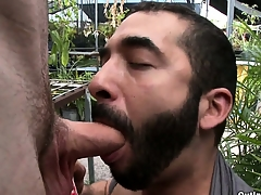 Sex-crazed bearded gay get up to old grip sucks this tall guy's cock in public
