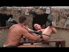 Gloved happy-go-lucky anal fisting glaze outdoors