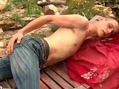 Starved guy strips in a difficulty coalesce together with strokes outdoors