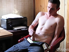 Tattooed Above-board Guy Chase Masturbating