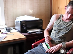 Tattooed Open Guy Chase Masturbating