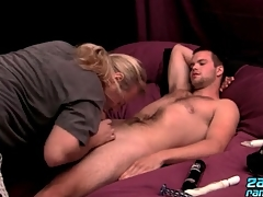 Hairy chest suppliant strokes his load of shit sensually