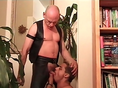 Deepthroat cocksucking video round leather hottie