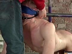 Bound gay bottom gets his balls fondled