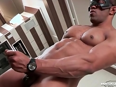 Masturbating black guy cums first of all his abs