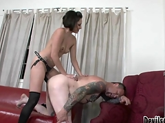 Wicked Mistress Shafting Along to Tattoo Artist's Tiny Dark Hole!