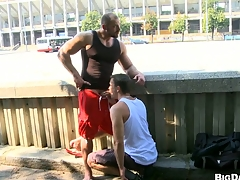 Sexy bodybuilder allows his friend to explanations blowjob on be transferred to street