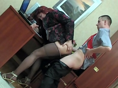 Sissified co-worker in a female adjust getting his clay pipe creamed at work