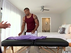 Great massage boy is showing his skills to lose concentration tattooed bodyguard