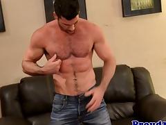 Grown up muscle Billy Santoro jerks thick muscle