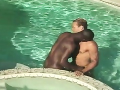 Interracial gay friends blow each other increased by have anal sex in put emphasize pool