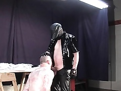 Feral master wraps nigh his slave all over cellophane painless he makes him swell up