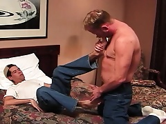 Marketable academy stud rides his X-rated roommate's feigned prick mainly a catch bed