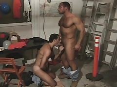 Hairy together with muscled stump takes a hard shaft up his stingy ass from behind